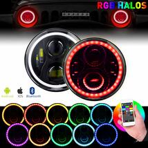 7 Inch Round LED Headlight RGB Halo Angel Eyes DOT Approved Halo